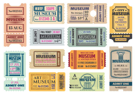 Museum retro tickets, admits templates. Vector coupons exhibition access with date, time, seat and row number, price and separation line. Vintage paper cards set for art, antiques city museum entry