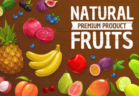 Natural farm ripe fruits vector pineapple, mango, peach and banana, pomegranat, apple and pear. Figs, guava, blackberry and blueberry, lime, lemon. Feijoa, lychee and cherry fresh fruits and berries