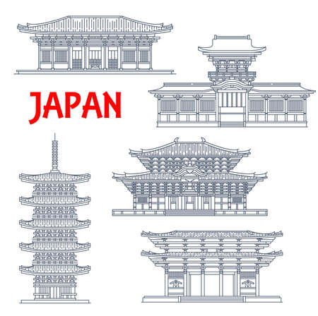 Japanese temples, shrines and Japan pagodas in Nara, Buddhism architecture vector landmarks. Todai-ji and Kofuku-ji Shinto pagoda tower, Nandaimon Gates, Kasuga Grand Shrine or Kasuga-taisha 向量圖像