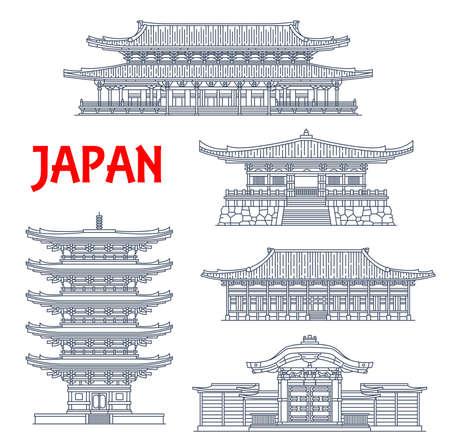 Japanese temples, shrines and Japan pagodas, Kyoto Buddhism architecture landmarks. Higashi Hongan-ji Eastern Monastery, Daigo-ji, To-ji pagoda, Karamon or Karakado gate and Goei-do Buddhist temple Illusztráció