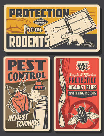 Pest control insects and rodents extermination service, house disinsection. Vector flies, rats, mice and bugs fumigation. Domestic disinfestation, insects and pest control vintage retro posters set