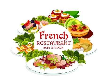 France cuisine, vector breton pancakes, cabbage stuffed with meat, quiche with tomatoes, sandwich croc madame, tuna salad with tomato, olives and eggs. French meals, food dishes round frame, poster