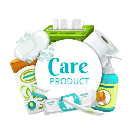 Hygiene, health care products round frame. Vector soap, toilet paper and shampoo, brush, toothpaste and cleansing wipes, liquid lather bottle, shower gel. Body cosmetics, personal hygiene, daily care Vetores
