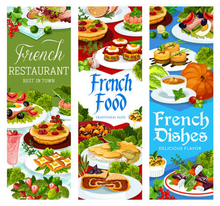 French food, France cuisine vector dishes bacon wrapped liver plate. Tuna salad with tomato, olives and eggs, pumpkin soup and salmon tartare, duck salad, strawberry cream dessert meals, banners set
