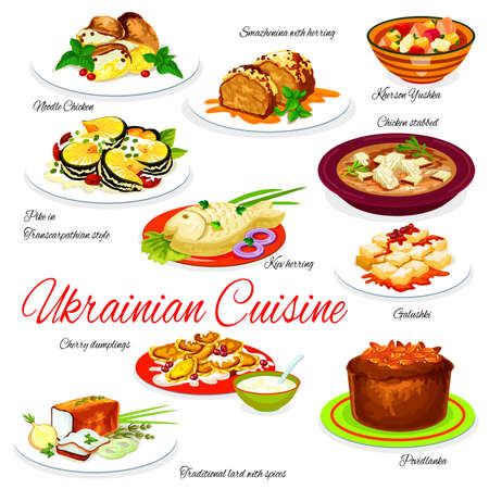 Ukraine food menu vector noodle chicken, smazhenina with herring and kherson yushka, kiev herring, galushki with cherry dumplings. Povidlanka and traditional lard with spices. Ukrainian cuisine dishes Иллюстрация