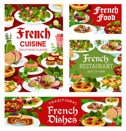 France cuisine vector old time marmite soup, salad with beet and goat cheese, dob beef and pork ham, foie grass, cabbage stuffed with meat, quiche with tomatoes. French meals, food dishes posters set Stock Illustratie