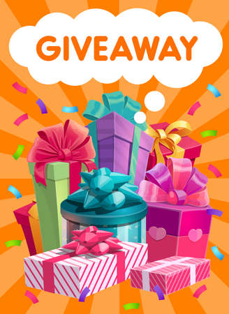 Giveaway gifts vector promo, social network advertising. Presents, like or repost giving in social media. Surprise packages pile, subscriber winner reward. Cartoon poster with gifts boxes and confetti
