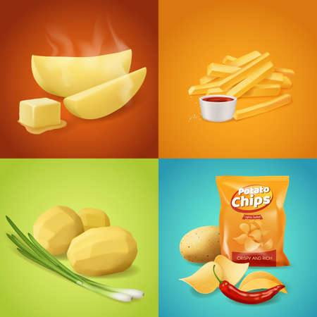 Potato dishes vector food. Whole boiled peeled potato with green onion, baked slices with steam and butter, french fries with ketchup sauce and salty spicy chips. Realistic potato vegetable meals menu