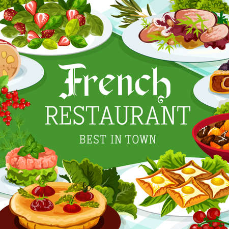 French cuisine, vector France meals dob beef and pork ham, breton pancakes, cabbage stuffed with meat. Quiche with tomatoes, salad with spinach and strawberries, bacon liver plate food dishes, poster