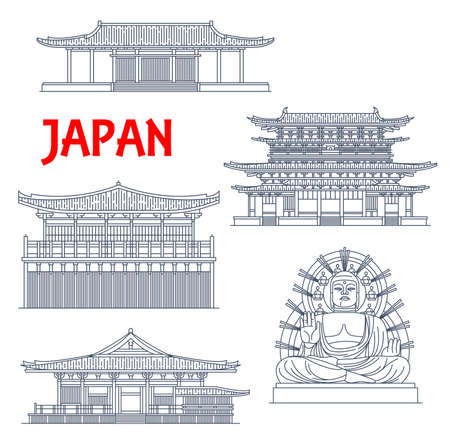 Japanese temples, shrines and Japan pagodas in Nara, Buddhism architecture, Buddha statue, vector landmarks. Sin Yakushi-ji, Sangatsu-do and Nigatsu-do temples, Kondo main hall and Big Buddha Illusztráció