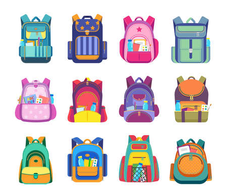 School bag and backpack isolated vector icons of student rucksack and knapsack with education equipment and supplies. Pupil schoolbags with zipper pockets and shoulder straps, books, pens, notebooks Vettoriali