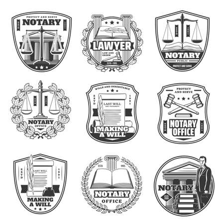 Notary office icons, testament and decree documents, judge and layer notarial service vector signs. Notary service in civil legal juridical rights, inheritance will registration and court regulations 向量圖像