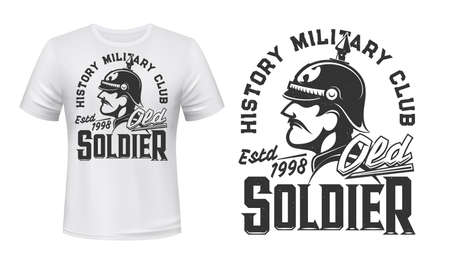 German soldier t-shirt print, vector mascot for history military club. Germany infantryman of World War First on white apparel mockup with soldier in helmet and typography old solder, tshirt mock up