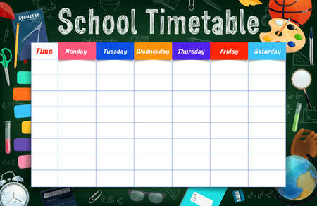 School timetable with stationery, tools and bookmarked planner vector template.