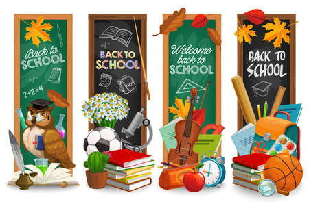 Education blackboard with back to school lettering vector cartoon banners set. Green and black chalkboards with learning stationery. Books, feather pen, teacher owl in graduation cap, maple leaves