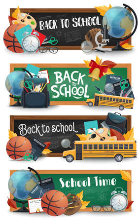 School blackboard, supplies and bus vector banners of Back to School and education design.
