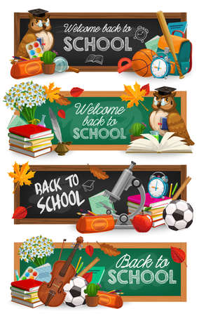 Back to School chalkboard with school supplies, education vector banners.