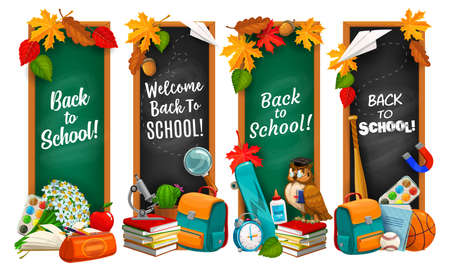 Back to school education banners, isolated vector chalkboards with typography.