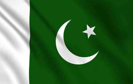 Pakistani flag, Pakistan country national identity, vector design white moon and star on green background. Foreign language learning, international business, travel, realistic 3d waving Pakistan flag
