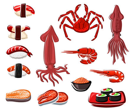 Seafood vector sushi and rolls, japanese sea food salmon fish, squid and shrimp with crab and rice. Seaweed nori, tuna and salmon steaks and caviar in bowl. Japan meals and raw seafood products set Vecteurs