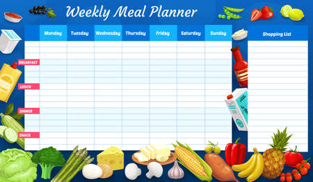 Weekly meal planner, vector timetable, week food plan organizer with farm and dairy products. Calendar menu with shopping list for grocery purchases. Meal diary template for personal weekly dieting Ilustracja