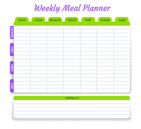 Weekly meal planner, vector timetable, week food plan organizer. Calendar menu for breakfast, lunch, dinner and snack with shopping list for grocery purchases. Diary template for personal dieting