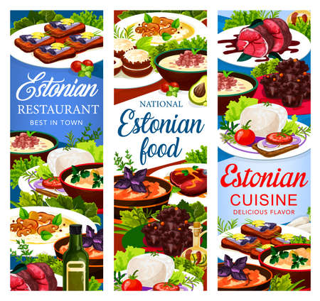 Estonian cuisine vector dishes pancakes butter with cream, milk fish soup, syir and spicy homemade sprat. Dark beer pork roast with mushroom cream soup, kama flour muffins. Estonia food meals banners