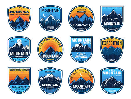 Mountain climbing, camping travel icons, tourism sport and outdoor travel, vector. Mountain camping and hiking club expedition shield badges, camp tourism and mountaineering extreme adventure Vektoros illusztráció