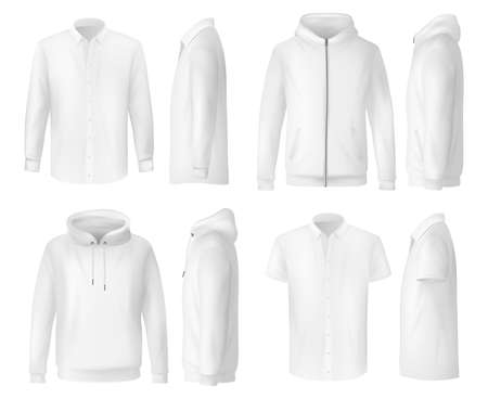 Shirt, polo and hoodie, menswear clothing mockups, vector white 3d templates. Men wear clothing hoody shirt, polo t-shirt and hoodie sweatshirt with hood and front pocket, sportswear or casual apparel