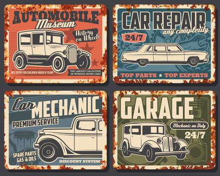 Old cars and vehicles rusty metal plate vector. Antique sedan and coach, classic limousine. Retro automobiles museum exhibition, car repair and restoration service, garage station or mechanic banner Vector Illustration