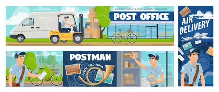 Post office mail delivery, postman service vector banners. Cartoon mailman courier sorting and delivering parcels and letter envelopes on bike and car. International air mail, express freight delivery 向量圖像