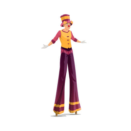 Acrobat on stilts, clown stilt walker, isolated vector big top circus artist. Jester performer, circus show entertainer in funny costume, wig, makeup and red fake nose. Cartoon stage comedian or joker