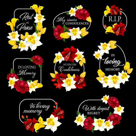Funeral frames and obituary card borders, vector memorial condolences. Funeral floral frames black plaques for mourning and loving memory, RIP rest in peace remembrance, flower wreath mortuary plates Vecteurs