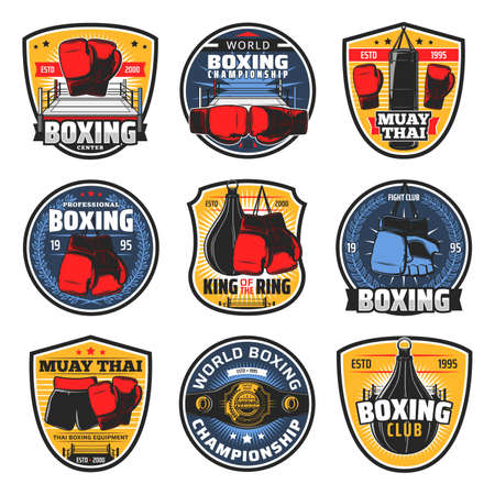 Boxing Muay Thai icons, kickboxing fighter arts vector badges. Thailand mma wrestling sport and muay thay boxers club, championship belt, boxing equipment, gloves and punching bag at ring