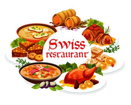 Swiss food cuisine, vector meals. Bread cake, pearl barley and cheese soup, veal rolls, duck with oranges. Gingerbread lekerli and beef wellington dishes and pastry dessert round frame