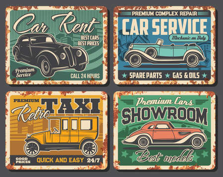 Taxi, car rent service, dealer showroom rusty metal plates. Retro limousine and coupe. Classic cars rent, taxi cab service, repair garage station, spare parts shop and showroom, salon vector banner