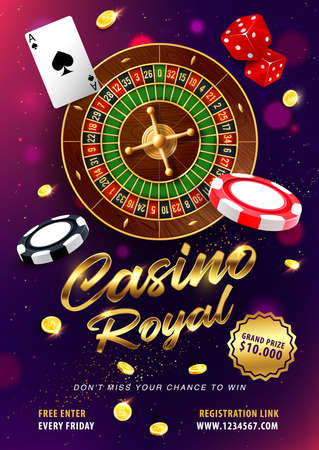 Casino gambling, roulette win 3d realistic vector. Roulette wheel and dices, card ace of spades, golden coins and chips. Online casino games grand prize or jackpot banner, advertising poster