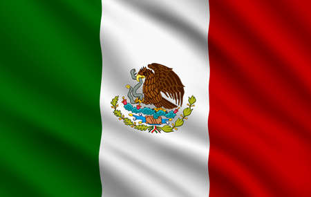 Mexican flag, Mexico country national identity, vector design with eagle and snake. Foreign language learning, international business or travel symbol, realistic 3d waving Mexican traditional flag