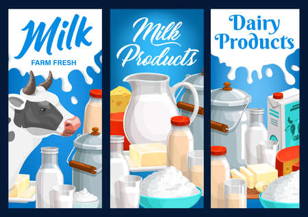 Dairy food and milk farm products. Vector metal can, jug cream, yogurt and butter on plate, cheese, kefir, condensed or fermented baked milk, curd and cow. Natural dairy production cartoon banners set