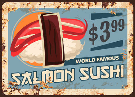 Salmon sushi rusty metal plate, Japanese cuisine food vector menu retro vintage poster. Japanese sushi bar menu, seafood salmon fish with rice and nori seaweed, dollar price