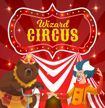 Circus performers vector poster clown and bear on bike performing magical show on big top arena. Cartoon artists on stage with marquee tent and sparkling lights. Funnyman and bear riding bicycle Vektorgrafik