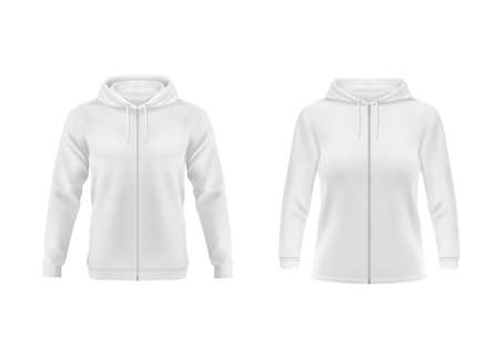 Hoodie, white sweatshirt vector mockup for men and women front view. Isolated hoody with long sleeves, zipper and drawstrings. Sport, casual or urban clothing, teenagers fashion, realistic 3d mock up