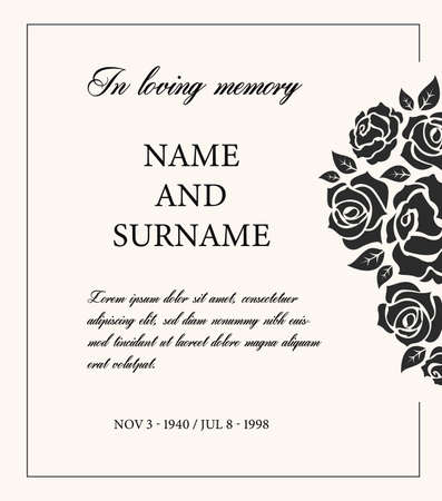 Funeral card vector template, vintage condolence obituary with typography in loving memory and vintage rose flowers, place for name, birth and death dates. Mourning memorial, funereal card, necrologue Ilustración de vector