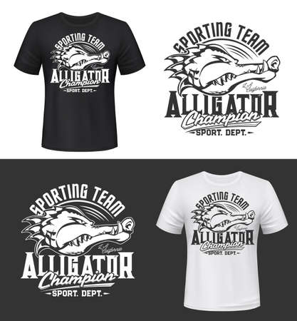 Tshirt print with alligator, vector sport team mascot. Isolated apparel mockup with crocodile head, predatory reptile animal. Symbol or emblem for sporting club, t shirt activewear, uniform template