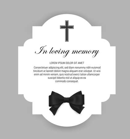 Funeral card, obituary memorial frame, or tomb engraving template. Funerary card with typography in loving memory, christian cross and black mourning neck tie, funeral condolence Ilustración de vector