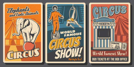 Circus performers retro posters. Funfair carnival, clowns and acrobats. Big top circus tent tamed elephant on ball, aerial equilibrist and funster on monbicycle. Ticket box office vintage cards Vektorgrafik