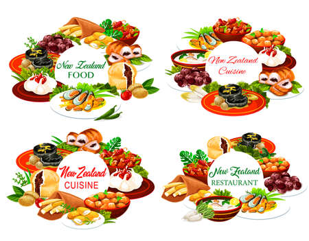 New Zealand cuisine round frames pork with apples and prunes, afghan cookies, Pavlova cake, mussels with cheese, oyster soup, steak, fish and potatoes, roast lamb with chutney Nz dishes posters