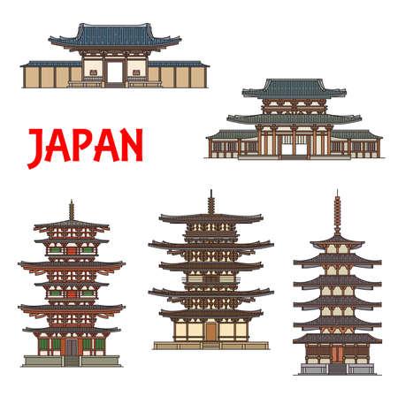 Japanese temples, shrines and pagodas in Ikaruga Nara, Japan, Buddhist architecture landmarks. Horyu-ji, Toto and Eastern pagodas, Nandaimon and Horyuji Tumon temple in Nara Prefecture