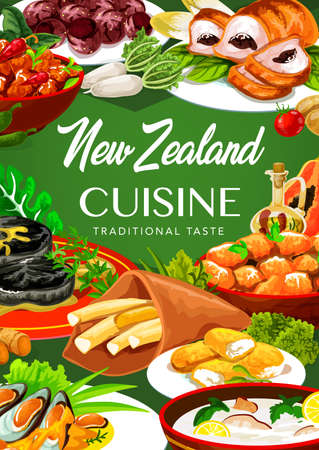New Zealand cuisine, food pork with apples and prunes, afghan cookies, mussels with cheese, oyster soup, steak. Fish and potatoes, roast lamb with chutney, baked pork with vegetables dishes Illustration