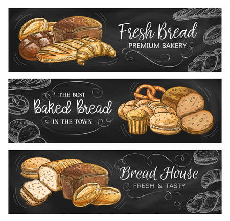 Bread house and bakery chalkboard banners. Rye and wheat bread with cheese, bloomer loaf, croissant and pretzel, bun for hamburger and sweet muffin chalk sketch. Bakeshop fresh pastry